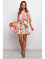 cheap -Women's Shift Dress Short Mini Dress - Half Sleeve Floral Print Summer Casual Mumu Holiday Loose 2020 White S M L XL