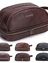 cheap -leather toiletry mens bag shaving case bags with lots pockets plenty space large compartments durable design travel pouch dopp kit for men women - brown