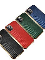 cheap -Case For iPhone 11 Shockproof Plating Back Cover Solid Colored Genuine Leather Case For iPhone 11 Pro Max / XS Max / XR XS