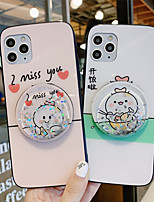 cheap -Flowing Liquid Mirror Holder Tempered Glass Phone Case Cartoon Pattern for Apple iPhone Case 11 Pro Max X XR XS Max 8 Plus 7 Plus 6 Plus  SE(2020) Curve Back Cover