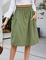 cheap -Women's Daily Wear Basic Knee-length Skirts Solid Colored Patchwork
