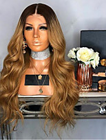 cheap -Synthetic Wig Body Wave Layered Haircut Wig Very Long Black / Gold Synthetic Hair 62-68 inch Women's Waterfall Brown