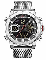 cheap -mens digital watches stainless steel mesh band sport waterproof watch with alarm military dual time wristwatch