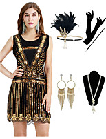 cheap -The Great Gatsby Vintage 1920s Flapper Dress Outfits Masquerade Women's Costume Golden Vintage Cosplay Party Prom / Gloves / Headwear / Necklace / Earrings / Cigarette Stick