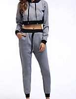 cheap -Women's Sweatpants Crop Top Crop Top Hoodie Color Block Sport Athleisure Sweatshirt and Pants Long Sleeve Breathable Soft Comfortable Everyday Use Daily Outdoor / 2 Piece