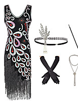 cheap -The Great Gatsby Charleston Dance Costumes 1 Necklace Paillette Women's Party Theme Party Sleeveless Natural Polyester