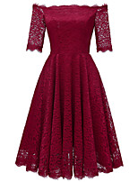 cheap -A-Line Elegant Minimalist Party Wear Cocktail Party Dress Off Shoulder Half Sleeve Short / Mini Lace with Pleats 2020