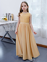 cheap -A-Line Jewel Neck Floor Length Chiffon / Lace Junior Bridesmaid Dress with Pleats