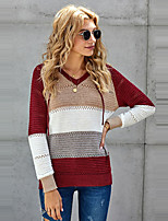 cheap -Women's Basic Knitted Striped Pullover Long Sleeve Sweater Cardigans Hooded Fall Winter White Black Red
