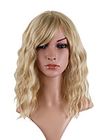 cheap -Synthetic Wig Loose Curl Asymmetrical With Bangs Wig Medium Length Blonde / Purple Synthetic Hair 14 inch Women's Fashionable Design Party Fluffy Blonde