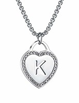 cheap -women's silver initial necklace stainless steel love heart tiny letter necklace personalized name jewelry for girlfriend gift alphabet letter k