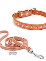 "cheap -10""-16.5"" total length s pet dog collar leash set sparkly crystal diamonds studded leather puppy dog cat collar leash set orange xs"