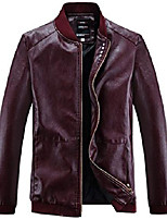 cheap -men's fashion leather jacket?wine red,s size