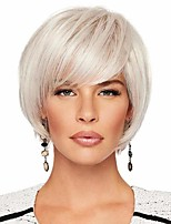 cheap -Human Hair Blend Wig Short Natural Straight With Bangs Adjustable Women Easy dressing Capless Women's White