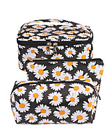 cheap -3 Pieces Cosmetic Bag Travel Toiletry Bag Large Capacity Waterproof Travel Storage Durable Flower PU Leather For Everyday Use Portable Foldable