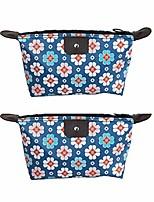 cheap -small cosmetic bag waterproof travel makeup bag zipper pouch for women girl mini coin purse wallets (2pcs floral)