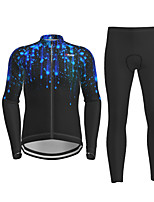 cheap -21Grams Men's Long Sleeve Cycling Jersey with Tights Black Galaxy Bike Breathable Quick Dry Moisture Wicking Sports Galaxy Mountain Bike MTB Road Bike Cycling Clothing Apparel / Micro-elastic