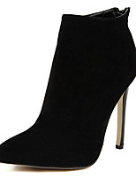 cheap -Women's Boots Stiletto Heel Pointed Toe Casual Basic Daily Solid Colored Suede Booties / Ankle Boots Walking Shoes Black / Red / Black / Black / Blue