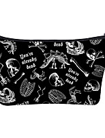 cheap -1pc Travel Organizer Cosmetic Bag Travel Toiletry Bag Large Capacity Waterproof Travel Storage Durable Halloween Skull Polyester For Portable Foldable Luggage