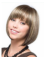 cheap -Synthetic Wig kinky Straight Bob Neat Bang Wig Short Brown Synthetic Hair Women's Easy to Carry Adorable Comfortable Brown