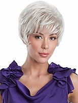 cheap -Human Hair Blend Wig Short Natural Straight With Bangs White Women New Arrival Cool Capless Women's White