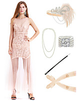 cheap -The Great Gatsby Vintage 1920s Vacation Dress Flapper Dress Outfits Masquerade Women's Costume Beige Vintage Cosplay Party Prom / Gloves / Headwear / Necklace / Bracelets & Bangles / Cigarette Stick