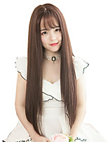 cheap -Synthetic Wig Straight With Bangs Wig Very Long Brown Synthetic Hair 28 inch Women's Fashionable Design Adorable Exquisite Brown