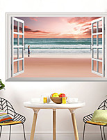 cheap -Landscape Pink Beaches Seascapes Wall Stickers 3D Wall Stickers Decorative Wall Stickers PVC Home Decoration Wall Decal Wall Decoration 1pc