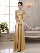 cheap -Sheath / Column Elegant Glittering Wedding Guest Formal Evening Dress V Neck Sleeveless Floor Length Charmeuse with Ruched Crystals 2020