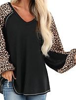 cheap -Women's T-shirt Leopard Cheetah Print Long Sleeve Print V Neck Tops Lantern Sleeve Loose Cotton Basic Basic Top Black