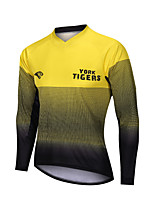 cheap -YORK TIGERS Men's Long Sleeve Cycling Jersey Downhill Jersey Black / Yellow Bike Tee Tshirt Sports Clothing Apparel / Advanced / Micro-elastic