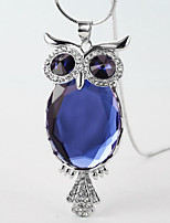 cheap -Long Necklace Women's Classic Cubic Zirconia Blue White Gray Owl Simple Classic Fashion Cute White Blue Gray Gray 2 80 cm Necklace Jewelry 1pc for Gift Daily Festival irregular