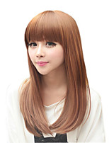 cheap -Synthetic Wig Natural Straight Neat Bang Wig Medium Length Dark Brown Synthetic Hair 22 inch Women's Fashionable Design Comfy Dark Brown