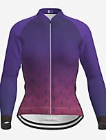 cheap -21Grams Women's Long Sleeve Cycling Jersey Winter Polyester Purple Gradient Bike Jersey Top Mountain Bike MTB Road Bike Cycling Quick Dry Back Pocket Sports Clothing Apparel / Micro-elastic