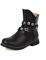 cheap -Girls' Boots Flower Girl Shoes PU Combat Boots Big Kids(7years +) Rivet Black / Brown / Beige Fall / Winter / Mid-Calf Boots / Party & Evening