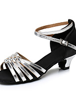cheap -Women's Latin Shoes Heel Cuban Heel Satin Silver / Black / Black / Gold / Black / Red