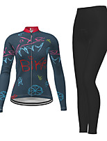 cheap -21Grams Men's Women's Long Sleeve Cycling Jersey with Tights Winter Polyester Dark Blue Novelty Bike Jersey Tights Clothing Suit Breathable Quick Dry Moisture Wicking Back Pocket Sports Novelty