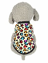 cheap -tiny mini puppy vest leopard print winter sweatshirt pet dog clothes soft warm sleeveless t-shirt pullover for small doggie cat apparel (yellow)