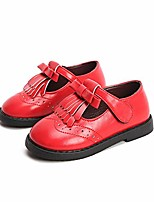 cheap -girls tassel bow ballet flat shoes with t-strap oxfords mary jane shoes (toddler/little kid) red