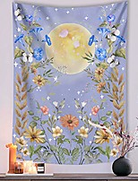 "cheap -moonlit garden tapestry, moon and stars surrounded by vines and flowers blue wall decor tapestry 60""×80"""