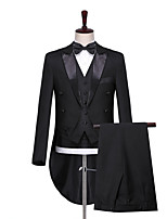 cheap -The Great Gatsby Retro Vintage Medieval Coat Pants Outfits Vest Men's Costume Black Vintage Cosplay Party Halloween Long Sleeve