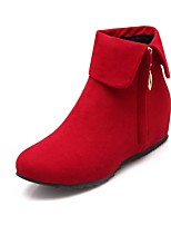 cheap -Women's Boots Flat Heel Round Toe Casual Daily Solid Colored Leather Booties / Ankle Boots Black / Red / Brown