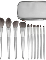 cheap -12 Pcs Silver Snow Makeup Brushes a Full Set of Beginner Beauty Tools Moonlight Silver Makeup Brush Set
