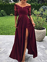 cheap -A-Line Minimalist Sexy Wedding Guest Formal Evening Dress Off Shoulder Half Sleeve Floor Length Charmeuse with Pleats Split Appliques 2020