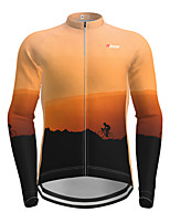 cheap -Men's Long Sleeve Cycling Jersey Orange Novelty Bike Jersey Top Mountain Bike MTB Road Bike Cycling Quick Dry Sports Clothing Apparel / Micro-elastic