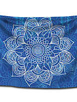 cheap -Wall Tapestry Art Decor Blanket Curtain Picnic Tablecloth Hanging Home Bedroom Living Room Dorm Decoration Polyester Bohemia Light Blue Background White Mandala View