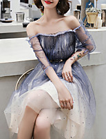 cheap -A-Line Color Block Sexy Homecoming Cocktail Party Dress Off Shoulder Short Sleeve Knee Length Tulle with Sash / Ribbon Pleats 2020