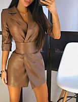 cheap -Women's A-Line Dress Short Mini Dress - 3/4 Length Sleeve Solid Color Fall Winter Shirt Collar Casual Slim 2020 Black Brown S M L