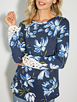 cheap -Women's Blouse Shirt Floral Flower Long Sleeve Cut Out Print Round Neck Tops Slim Cotton Basic Basic Top Blue Red
