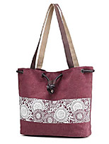 cheap -women printing canvas shoulder bag casual hand bags purse with leather straps (burgundy)